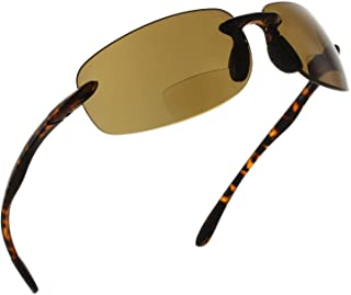 787b120ee2 Fiore Island Sol Bifocal Reading Sunglasses Rimless TR90 Readers for Men  and Women