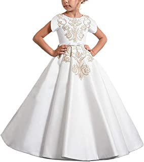 XGSD Wedding Flower Girl Dress Satin Girls Pageant Dress First Communion Dress Vestido da menina de Flor White