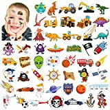 Qpout Tatuajes temporales para niños (100 piezas), espacio exterior del sistema solar/pirata/camión de carro/tatuajes de tiburones dinosaurio para niños niñas decoración/regalo de fiesta de cumpleaños