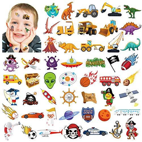 Qpout 100xTatuaggi temporanei per bambini, spazio esterno sistema solare/pirata/camion auto/tatuaggi di squalo dinosauro per la decorazione del regalo della festa di compleanno delle ragazze ragazzi