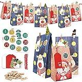 ONEHAUS Geschenk Papiertueten, Adventskalender zum befüllen Kinder Zum Selber Befüllen Basteln Pinguin