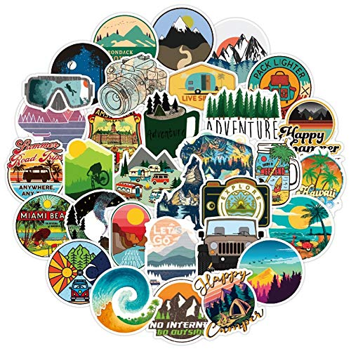 RUIRUI 50 pegatinas de viaje para camping, aventura, paisaje al aire libre, impermeable, calcomanía para maleta, portátil, motor y coche