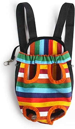 Mallofusa Large Size Colorful Stripe Pattern Pet Carrier Legs Out Front Bag Backpack for Dog Cat Adjustable