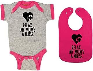 Relax. My Mom's A Nurse. - Baby Ringer Bodysuit & Premium Bib Gift Set
