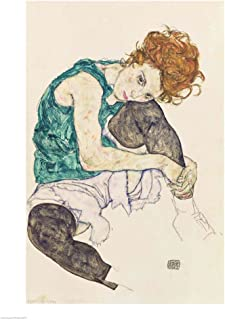 Seated Woman with Bent Knee, 1917 by Egon Schiele Art Print, 24 x 32 inches