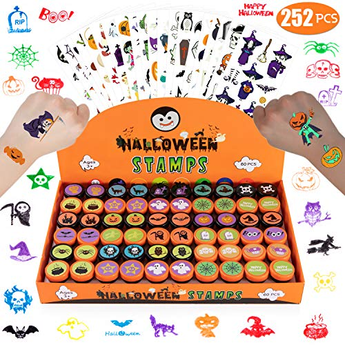 Halloween Party Favors for Kids, 60 PCS Halloween Stamps & 192 PCS Halloween Temporary Tattoos for Halloween Party Supplies, Non Candy Halloween Goodie Bag Fillers, Halloween Trick or Treat Toys Prizes