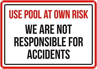 TOPFINES Pool Rules Sign -Use Pool at Own Risk, We are Not Responsible for Accidents Spa Warning Small Signl(11.8