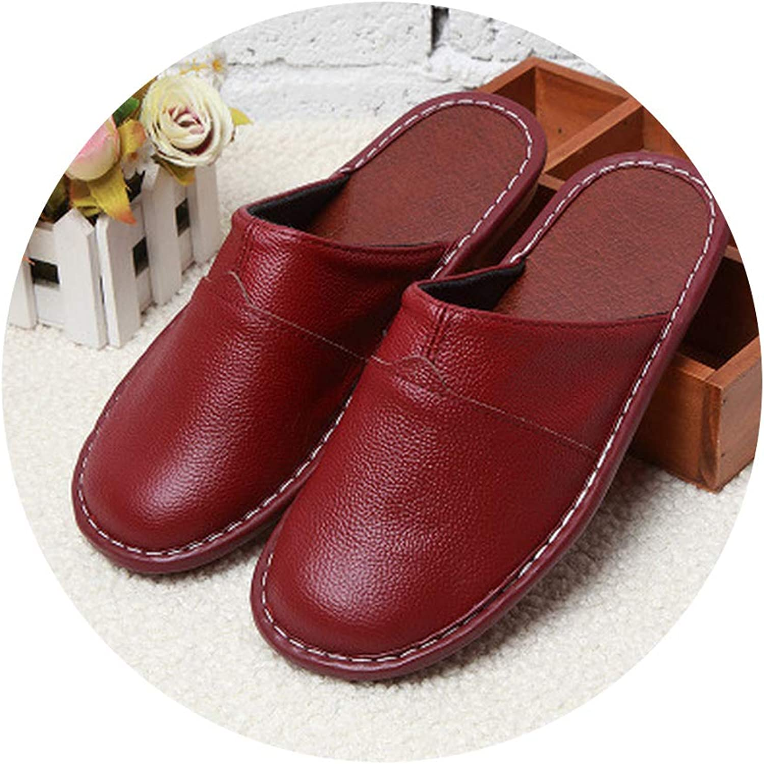 Log SWIT Leather Male Slippers Home Family Male Slippers Non-Slip Unisex shoes Spring