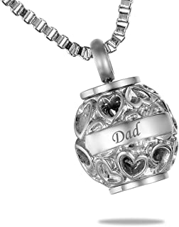 HooAMI Hollow Heart Dad+Always in My Heart Cremation Urn Necklace Memorial Pendant