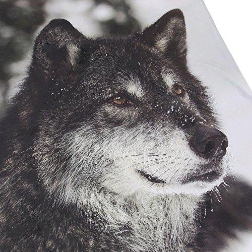 """Kuscheldecke """"Wolf"""" Vorderseite bedruckt mit großem Wolfsmotiv, Rückseite flauschiger Teddystoff, 100% Polyester 130 x 155 cm"""