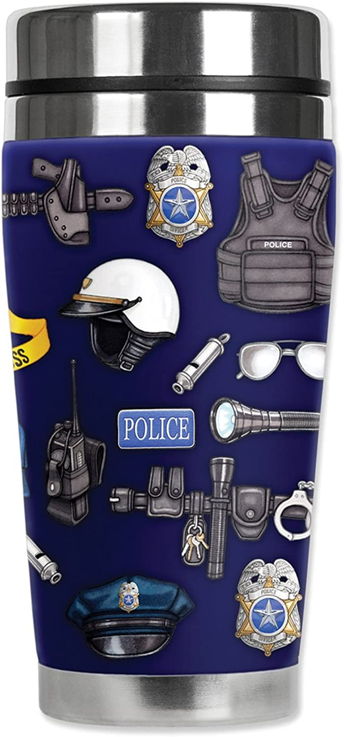 Mugzie MAX - 20-Ounce Stainless Steel Travel Mug with Insulated Wetsuit Cover - Police Department