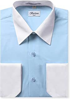 Men's Two Toned Dress Shirt with Convertible Faux French Cuffs - Many Colors