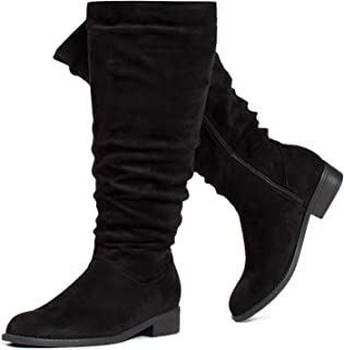 RF ROOM OF FASHION Women's Wide Calf Wide Width Low Heel Slouchy Knee High Boots w Pocket - Plus Size Friendly