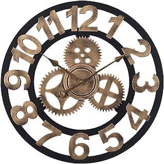 hsj WYQmm Personnalité Vintage Vieux Engrenage en Bois Horloge Murale Creative Salon Bar Café Décoration Horloge Horloge M...