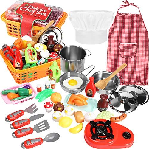 42 Pieces Kitchen Pretend Cookware Play, Mini Kitchen Tools Play Set...