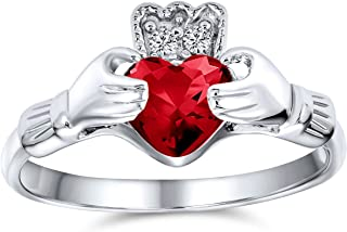 BFF Celtic Irish Friendship Promise AAA CZ Simulated Gemstone Cubic Zirconia Hands & Heart Claddagh Ring For Women Teens 9...