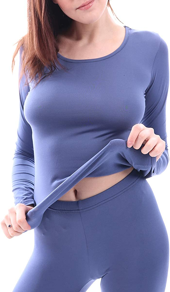 WUHOUPRO Womens Ultra Soft Thermal Johns with Underwear Fle Long Cheap super special price Max 69% OFF