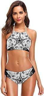 91dec3da31a SLHFPX Womens Swimsuits Black Cat Head Round Portrait Madnala Halter  Bathing Suits Girls Strap Swimsuits