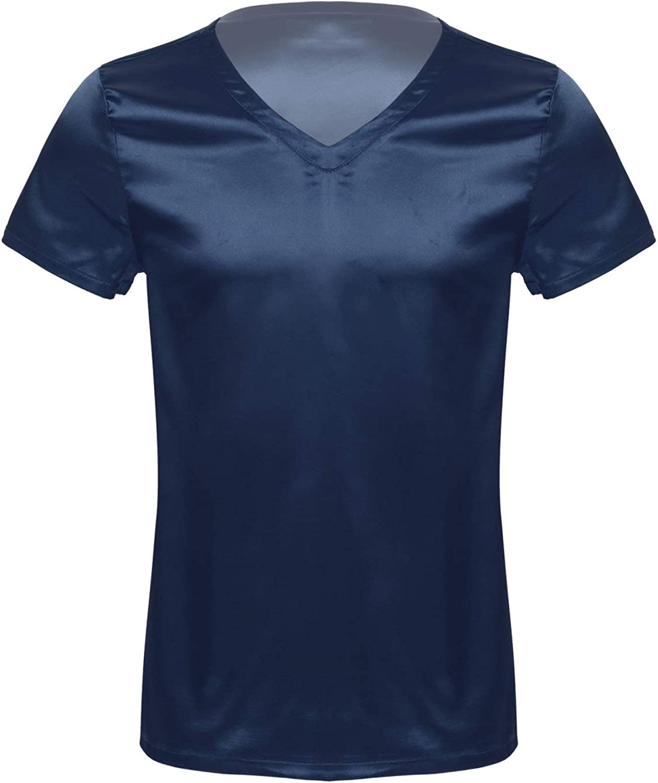 MSemis Mens Satin Silk Shirt Short Sleeve V-Neck Shiny T-Shirt Tee Blouse Nightwear Pajamas Sleepwear