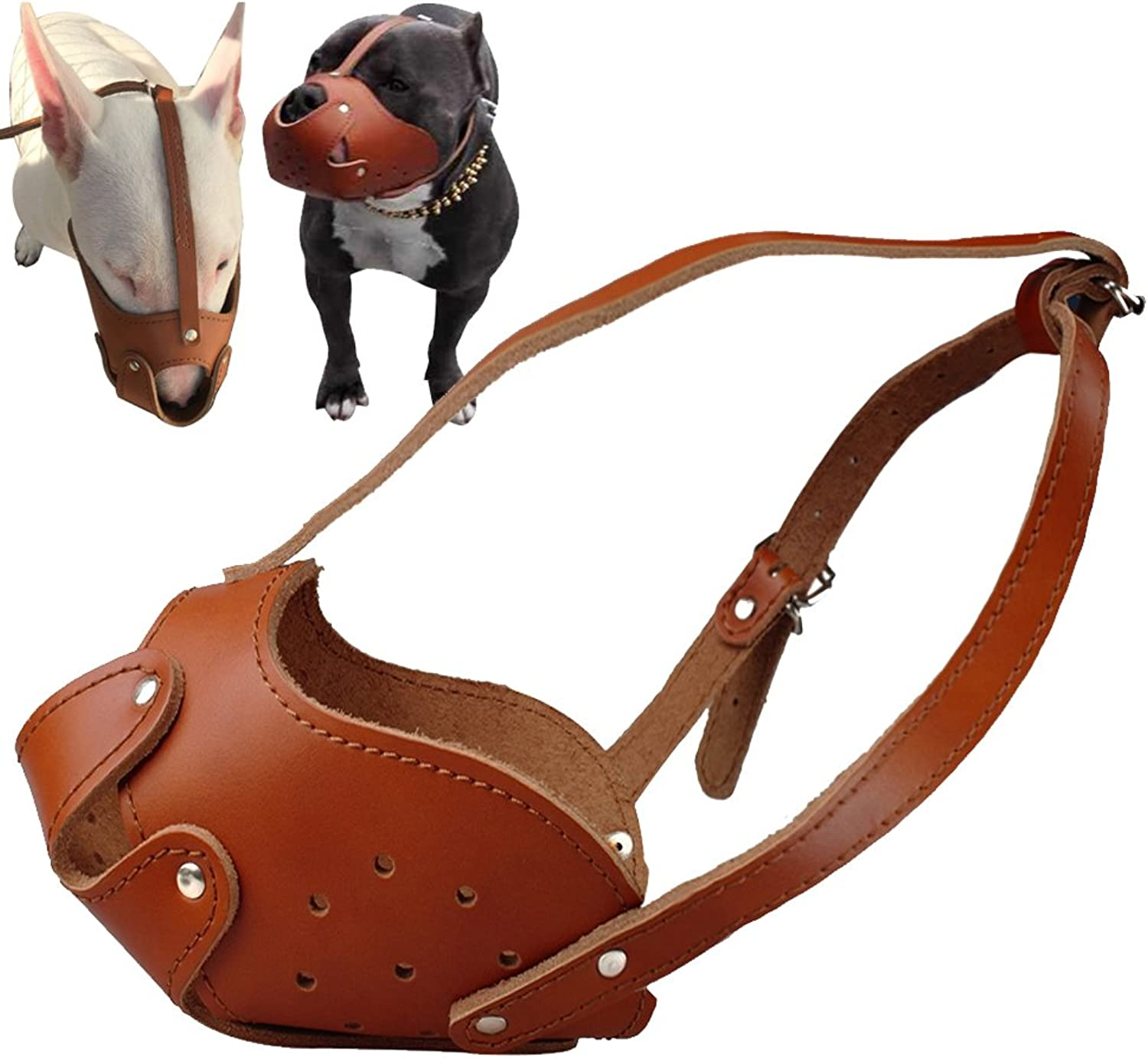 Didog Soft Genuine Leather Dog Muzzle Fit Pit Bull Boxer Amstaff Staffordshire Bull Terrier