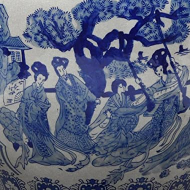 "Oriental Furniture 12"" Ladies Blue & White Porcelain Fishbowl"