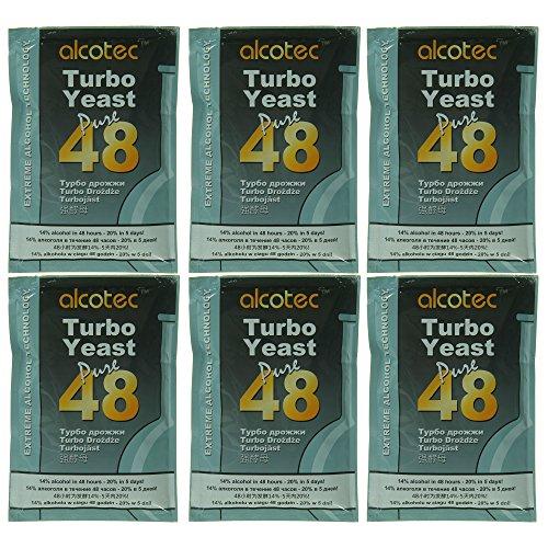 AlcoTec 6X Turbohefe 48h Dual, bis 21% Alkohol (6 Packungen)