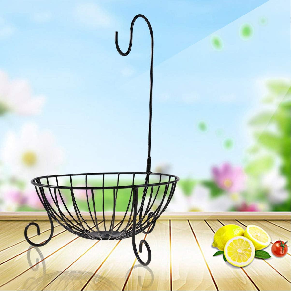 Homoyoyo Cesta de Frutas con Colgador de Pl/átano Desmontable Soporte de Frutero de Metal para Cocina Casera Blanco