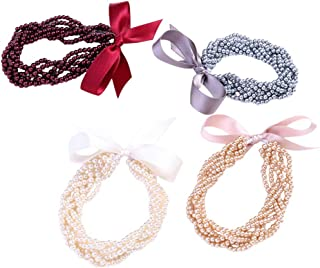 Frcolor Stretch Hair Ties Elastic pearl Hair Band Ponytail Holders Hair Accessories 4pcs