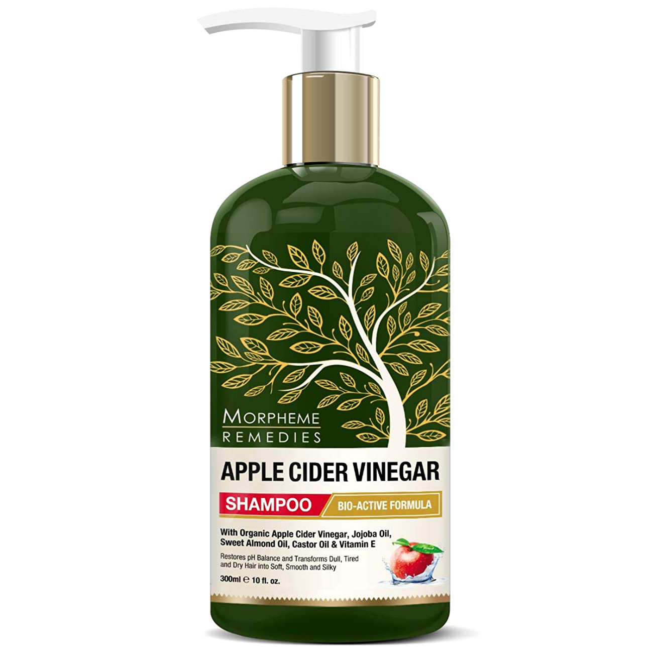 現代おじさん同化Morpheme Remedies Apple Cider Vinegar Shampoo (No Sulfate, Paraben or Silicon), 300ml - Transforms Dull, Tired & Dry Hair into Soft, Smooth & Silky
