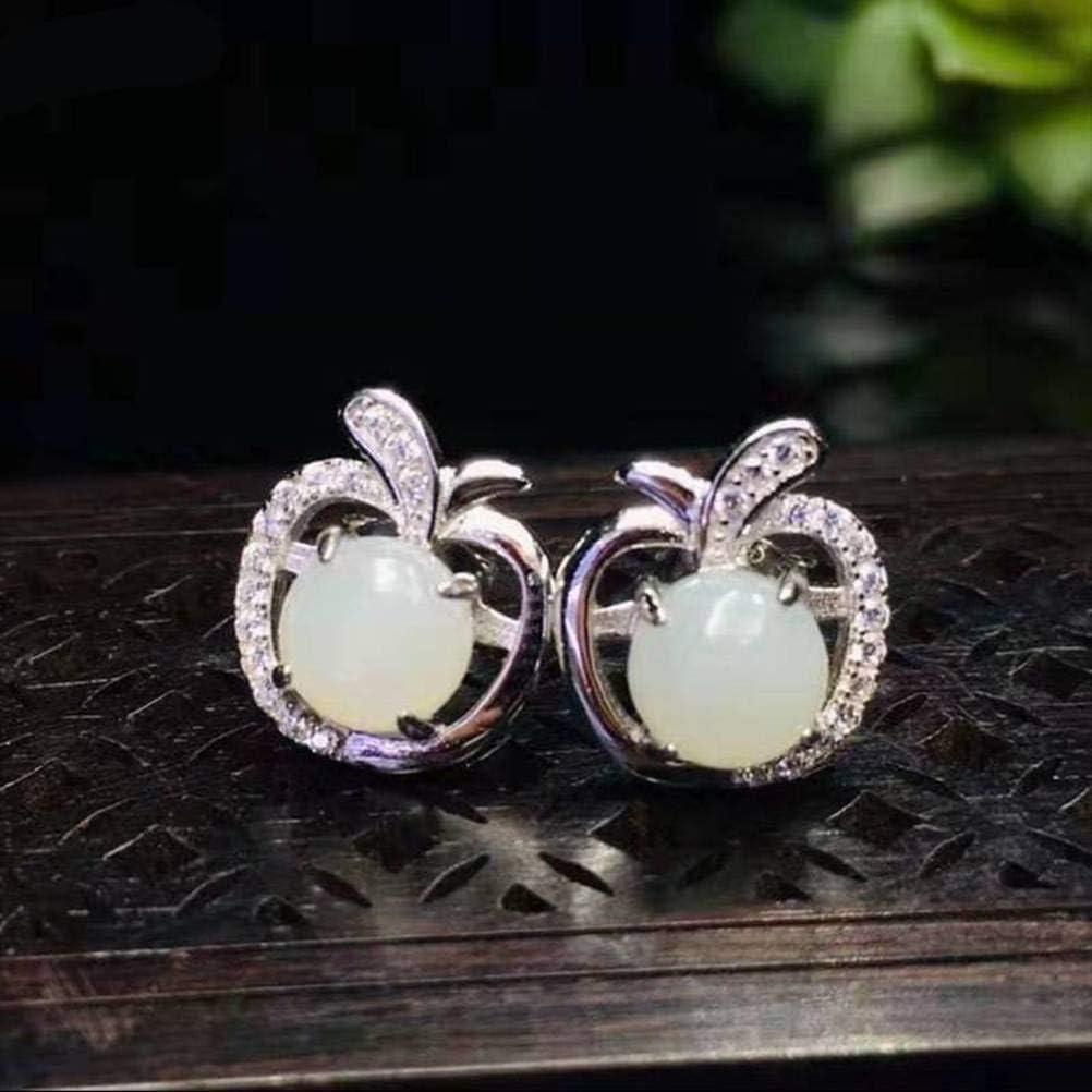 QiongXi Eardrop Earring Stud Earrings for Women S925 Silver Earrings Female Silver Jewelry Sterling Silver Jewelry Nephrite EarringsAs Shown