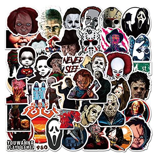 50pcs Horror Movie Stickers, Thriller Killer Role Stickers Pack, Halloween Themed Horror Stickers for Teens Adults, Waterproof Devil Stickers Decals for Water Bottle Laptop Skateboard
