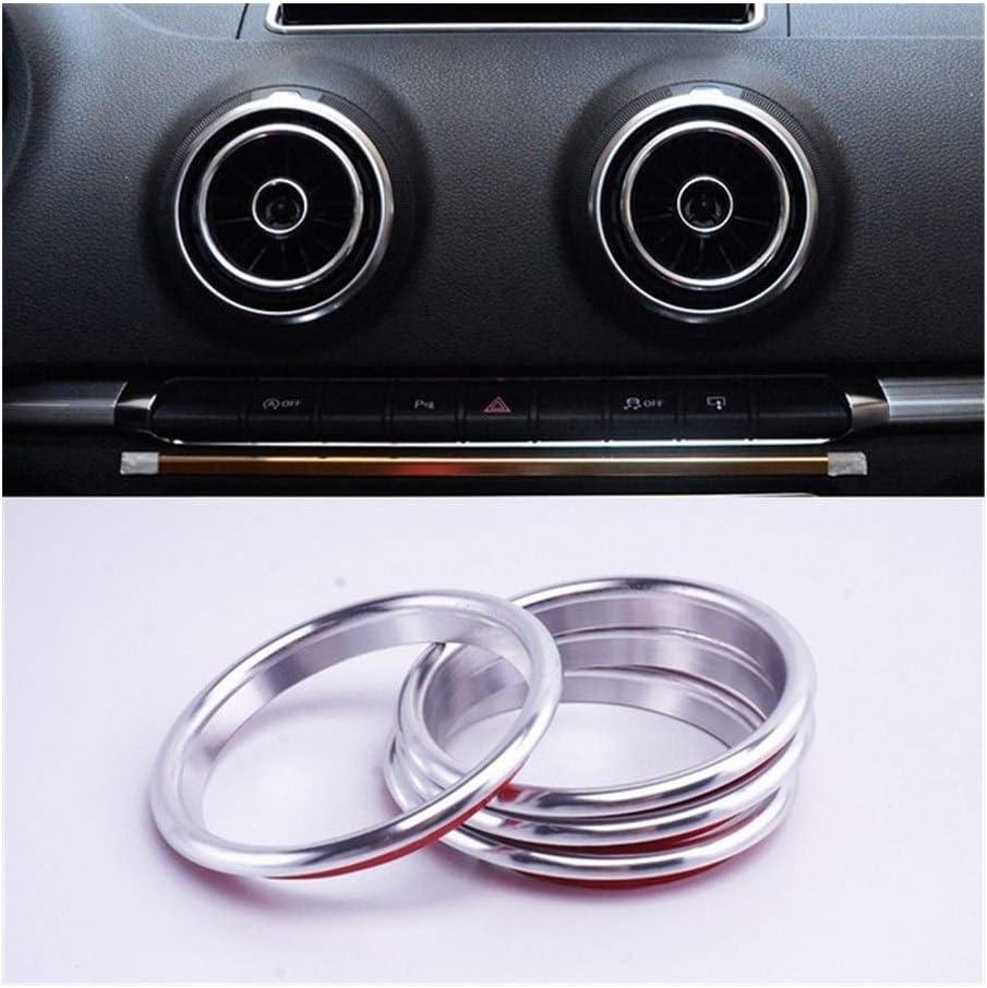 JIS Reemplazo de 4 Piezas de CA Aire Acondicionado Salida de ventilaci/ón del Interior y el Anillo Exterior Ajuste de la Cubierta for Audi A3 S3 Q2 2013-2019 Car Styling Accesorios
