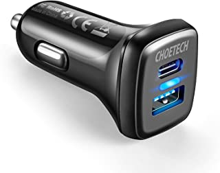 USB C Car Charger,CHOETECH 36W 2-Port Quick Charge 3.0 Power Delivery Type C Car Charger Compatible with iPhone 12/12 Pro/...