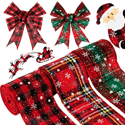 Whaline Christmas Burlap Ribbon Roll Red Plaid with Snowflakes Craft Ribbon 18 Yard Wired Edge Wrapping Ribbon Wide Rustic Natural Ribbon for Xmas Gift Tree Gift Wreath Decoration, 3 Roll