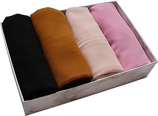 4 PCS Muslim Women Soft Premium Solid Chiffon Hijab Scarves Shawl Long Scarf Wrap Scarves with Gift Box