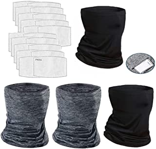 4 Pcs Neck Gaiter Face Cover Scarf with 20 Pcs Carbon Filters - Breathable Gator Mask Cooling Bandanas