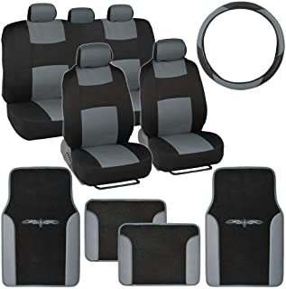 BDK Gray Combo Fresh Design Matching All Protective Seat Covers (2 Front 1 Bench) Ergonomic Steering Cover (1 Piece) Heavy Protection Sleek Graphic Auto Carpet Floor Mats (4 Set)