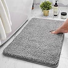 TWBEST Alfombra de baño, Alfombra Absorbente Antideslizante, Alfombra de baño de Microfibra esponjosa, alfombras de Ducha de Chenilla Suave Absorbente de Agua, Lavable a máquina (50x80cm, Gris)
