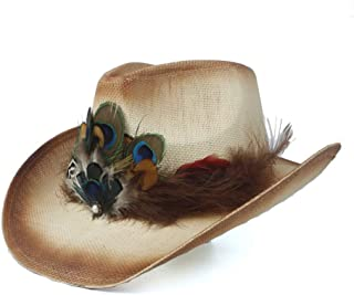 Fashion Hats, Caps,Elegant Hats, Natural Caps Handmade Decoration Sun Hats Peacock Feather Hollow Western Cowboy Hat for Summer Lady Straw Sombrero Hombre Beach Cowgirl Jazz Straw Sun Hat