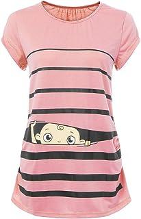 AU Plus Maternity Cute Funny Baby Print Strip Short Sleeve T-shirt Pregnant Tops
