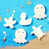 25 Pieces Oil Absorbing Scum Sponge Cute Shapes Clean Accessories Remover Floating Sponges of 4 Kinds of Marine Life for Hot Tub, Swimming Pool and Spa (White)