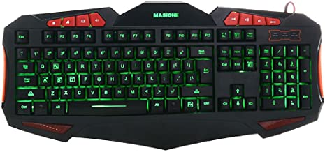 Masione Domineering LED USB Gaming Keyboard with 7 Adjustable Colorful Backlights