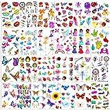 Qpout 300pcs Tatuajes Temporales con purpurina para niños,dibujos animados flash animal princesa flor hada tribal tótem tatuajes falsos pegatinas para niños niñas bolsa de regalo decoración recompensa