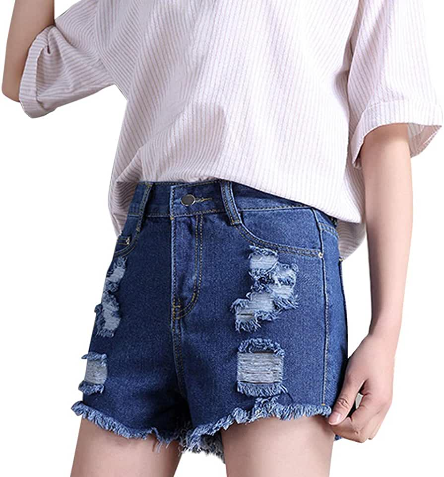 Women High Waisted Short Jeans Summer Casual Frayed Raw Hem Ripped Distressed Denim Shorts