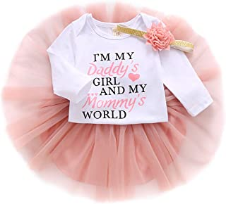 Infant Baby Girl Outfits Letter Printed Romper Long Sleeve Bodysuit Onesies Top Tutu Skirt Headband Fall Clothes Set