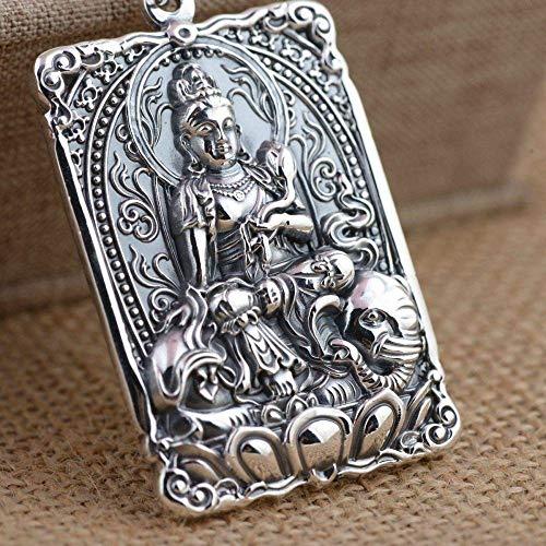 ZLININ S925 Silber Vintage Halskette Herren Damen Quadratisch Buddhistische Schrift Bodhisattva Kreative Gravur Einzigartig Persönlichkeit Geschenk Unisex
