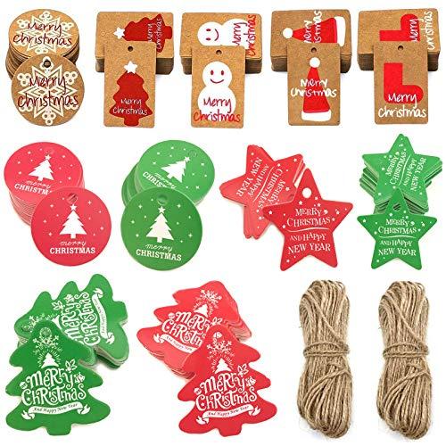 Xinmeng 160 Piezas Etiquetas de Regalo de Navidad, Etiquetas de Papel Kraft 8 Diseños con 2 Rollo de Cuerda Adecuado, para Bricolaje, Decoración de Navidad día Festivo