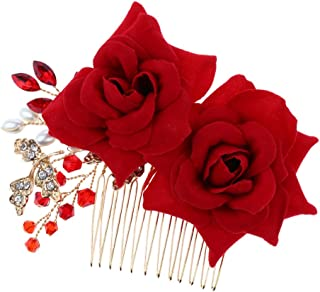 MagiDeal Wedding Bridal Pearl Hair Comb Red Rose Crystal Headpiece Hair Accessory 10 x 9cm