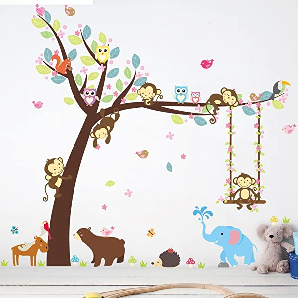 Aukeoss Cartoon Cute Monkey Swinging Climbing Trees Wall Sticker Decals For Kids Children Baby Kindergarten Living Room Bedroom Wall Decoration Painting