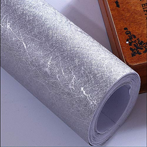 Verdickte Seide wasserdichte selbstklebende Tapete Wohnzimmer Schlafzimmer Hintergrund Wandaufkleber Rosentapete weiße Seide Breite 61 cm